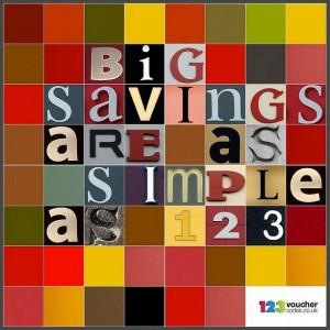 "123vouchercodes slogan ""big savings are as simple as 123"""