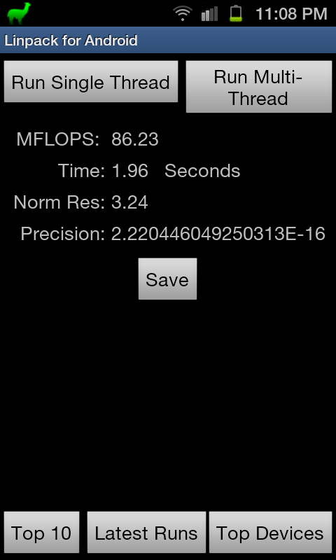 Linpack Score for Galaxy S2 Stock ROM